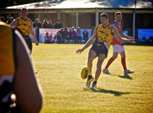 Adam McKinlay kicks goal 100. Chidlow Oval Round 12 (game 11) July 7, 2013